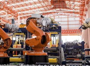 robots welding in automobile production line