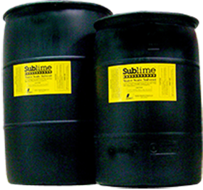 two drums of Sublime water scale solvent